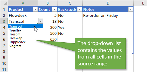 Data Validation List Drop-down Source Range.