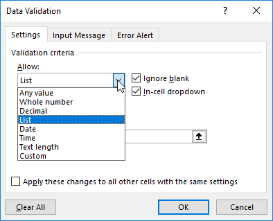 Data Validation Window Allow List