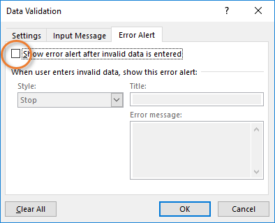 Data Validation Window Error Alert Allow Invalid Entries