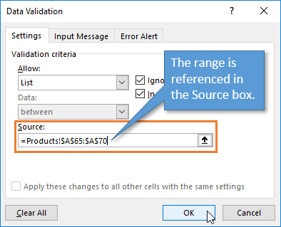 Data Validation Window Select a Range of Values