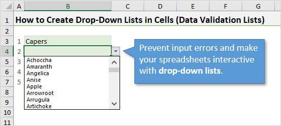 Drop-down Lists in Excel Prevent Input Errors Interactive2