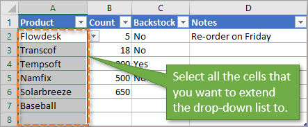 Extend Data Validation Selection