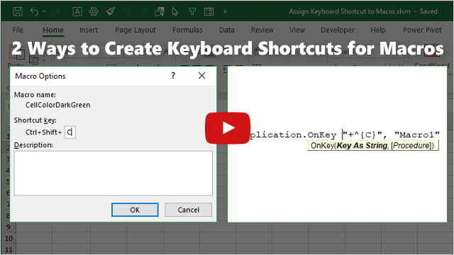 2 Ways to Assign Keyboar Shortcuts to Macros - Video Thumb 640