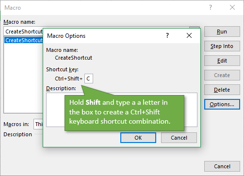 Assign Keyboard Shortcut to Macro - Ctrl Shift Combination