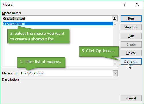 Assign Keyboard Shortcut to Macro - Open Options Window