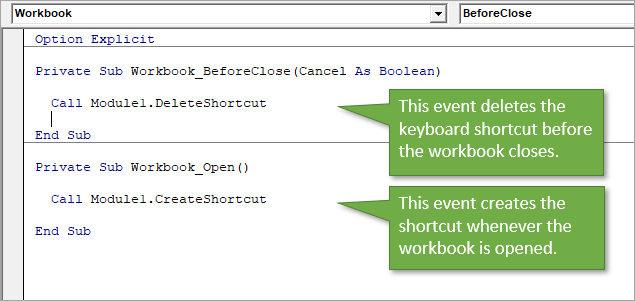 Create event when workbook opens, delete event when workbook closes