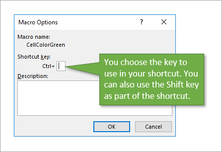 Macro Options Window Choose Shortcut Key