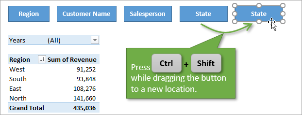 Press Ctrl and Shift while dragging the button to duplicate