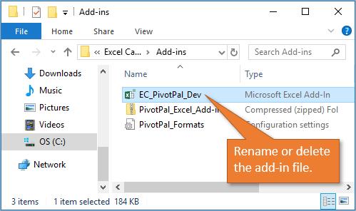 Rename or delete the add-in file