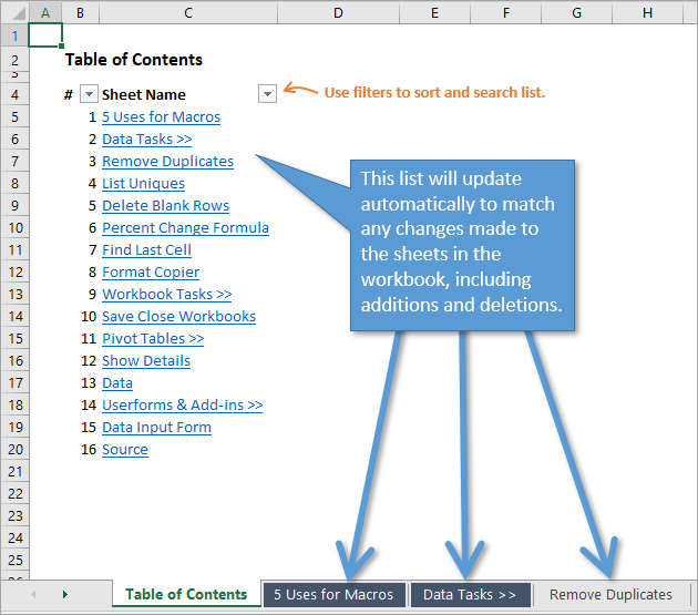 Table of Contents Automatically Updates When Changes are made to Worksheets