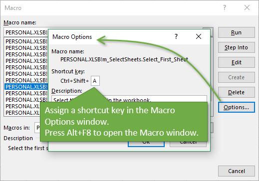 Assign Keyboard Shortcut in Macro Options Window