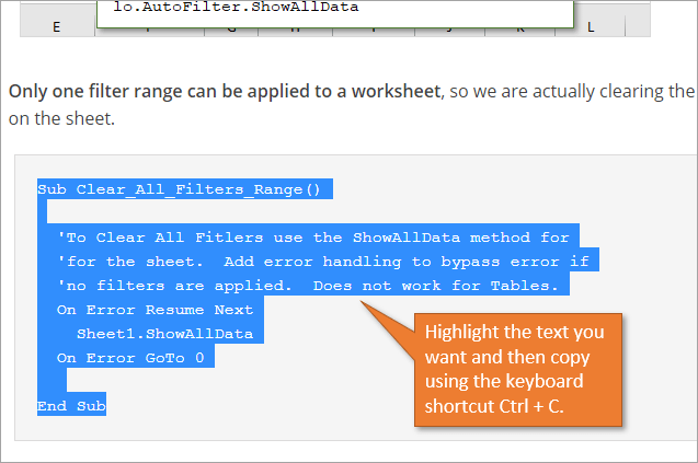 Copy VBA Code from source