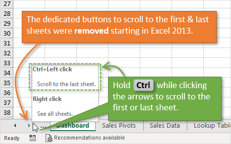 Ctrl+Click to Scroll to First and Last Sheet - Buttons Removed in Excel 2013