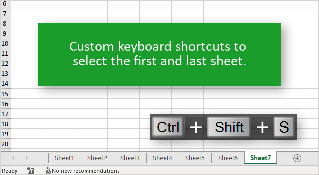 Custom Keyboard Shortcuts to Select the First or Last Sheet in Excel