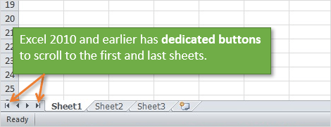 Dedicated Buttons to Scroll to First and Last Sheet in Excel 2010 and Earlier