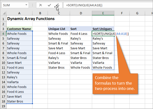 Dynamic Array Formulas Sort and Unique Functions..