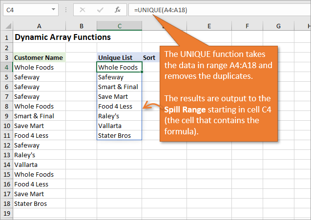 Dynamic Array Formulas Unique Function Spill Range