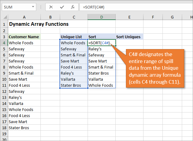Dynamic Array Reference in Formulas with Cell Reference Hashtag - Sort Function..