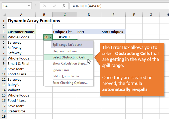 Error Box for Spill Error in Excel - Select Obstructing Cells