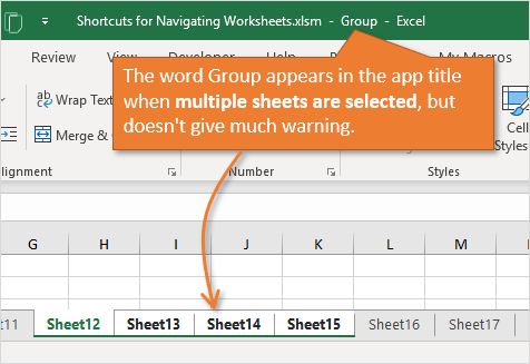 Group Appears in Application Header Title when Multiple Sheets Selected in Excel