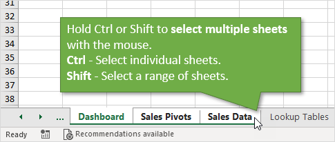 Hold Ctrl or Shift to Select Multiple Sheet Tabs in Excel