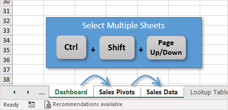 Keyboard Shortcut to Select Multiple Sheets in Excel Ctrl Shift Page Up Down
