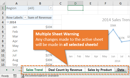 Making Changes to Multiple Sheets in Excel