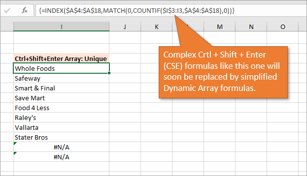Old Ctrl Shift Enter Array Formula to List Unique Values..