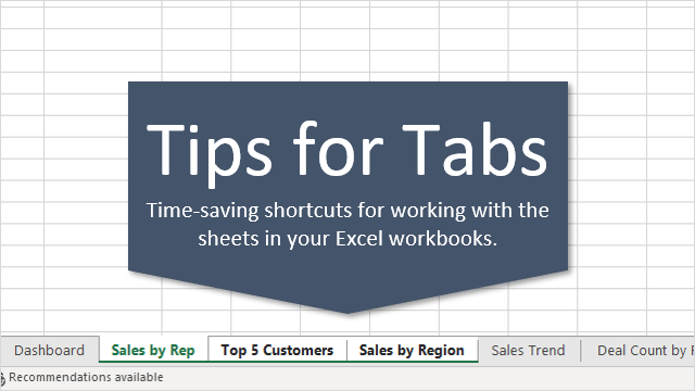 7 Shortcuts for Working with Worksheet Tabs in Excel - Excel ...