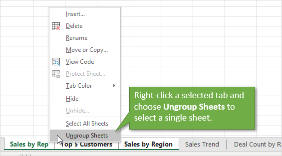 Ungroup Sheets Option from the Right Click Menu on Excel Sheet Tabs