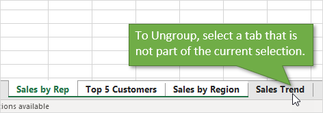 Ungroup or Deselect Sheets by Selecting a Tab Outside the Group