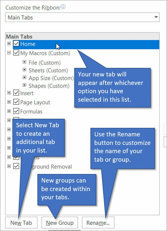 Customize the Ribbon by creating new tabs and groups