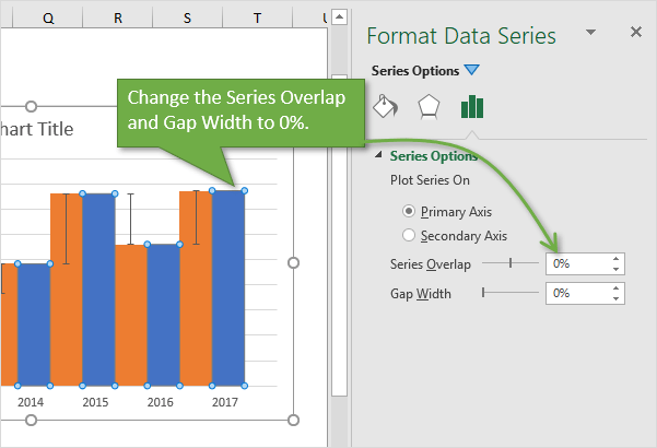 Step 5 - Change Gap Width and Series Overlap on Column Chart Excel