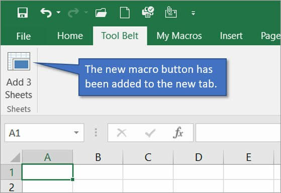 The new macro button has been added to the new tab