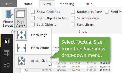 Select Actual Size from the Page View menu