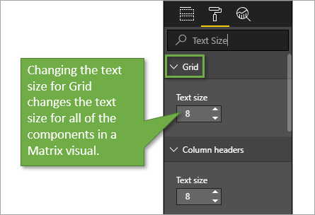 Changing the text size for Grid changes all of the components in a Matrix visual