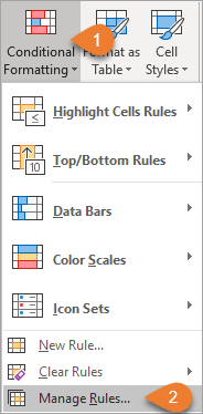 Conditional Formatting Manage Rules..