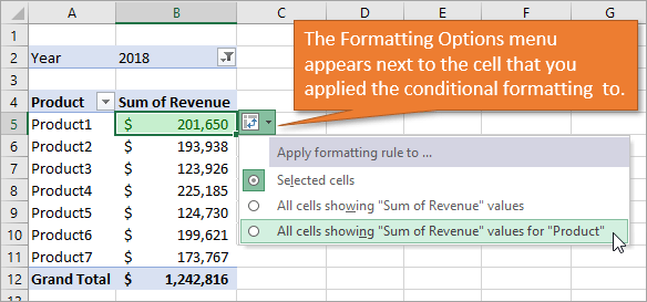 Formatting Options menu appears by the conditional formatting cell