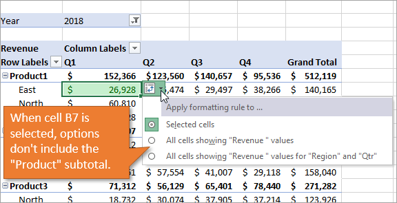 Formatting options excluding subtotals