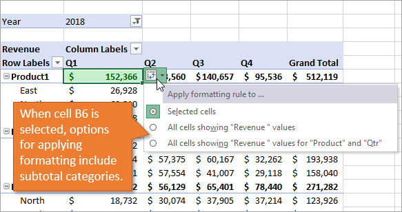 Formatting options including subtotals