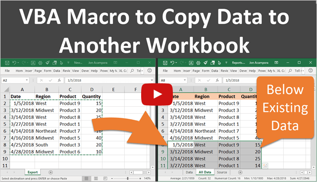Copy Data to Another Workbook Using Macros Below Existing YouTube Thumb 640