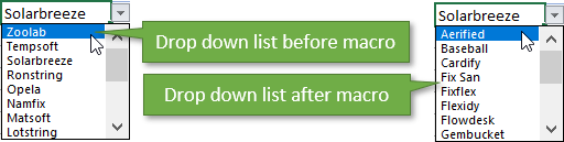 Drop down list sorted automatically with macro