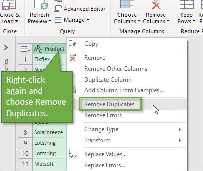 Power Query Remove Duplicates