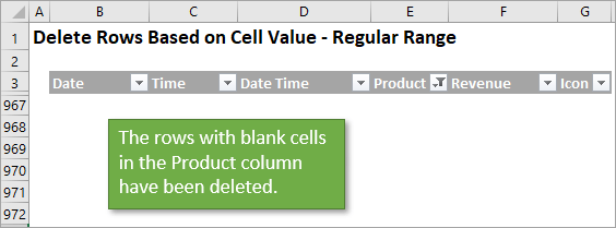 Rows with blank cells deleted