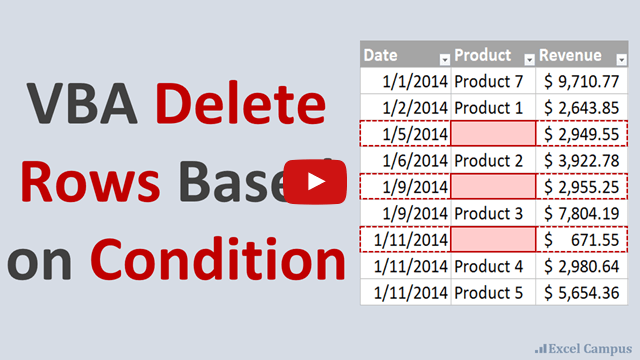 VBA Delete Rows Based on Condition YouTube Thumb 640