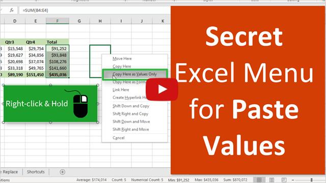 Secret Excel Menu for Right Click Paste Values 640