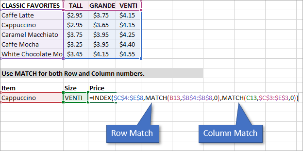 Match both row and column for INDEX MATCH formula