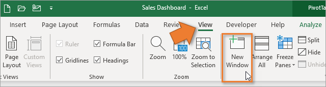 New Window Button on View Tab