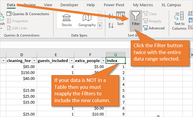 Reapply Filters After Adding Index Column if Data is Not in Table