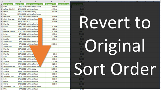 Revert to Original Sort Order in Excel - Excel Campus